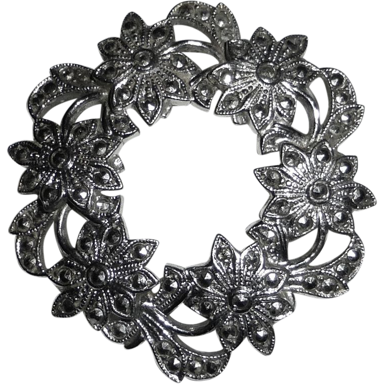 Sterling & Marcasite Pin Circle of Daisies