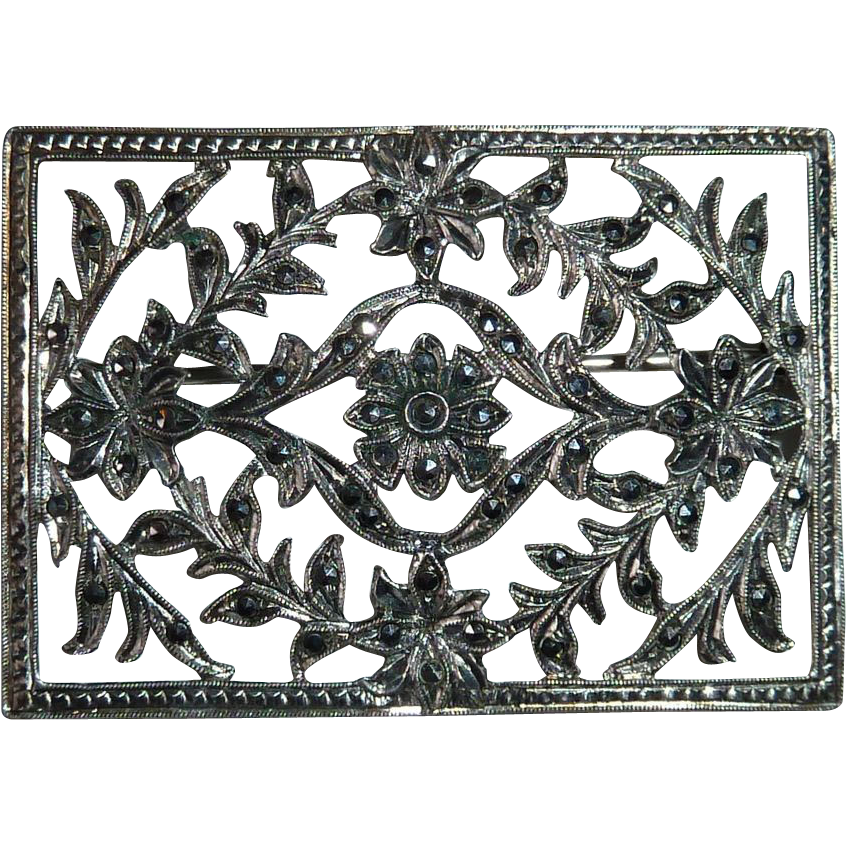 Sterling Marcasite Pierced Floral Design Pin