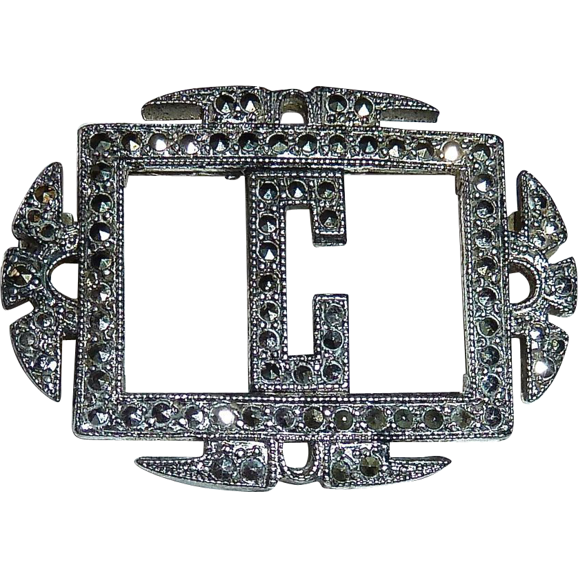 Glittering Art Deco Sterling Silver & Marcasite C Initial Pin