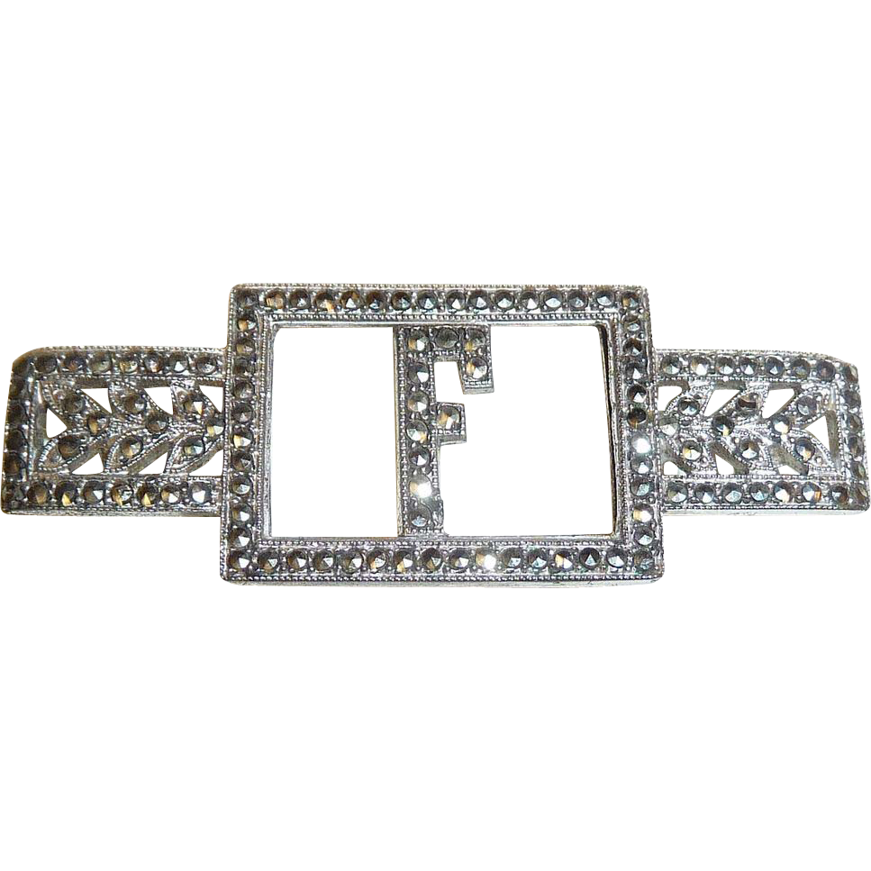 Glittering Art Deco Sterling Silver & Marcasite F Initial Pin