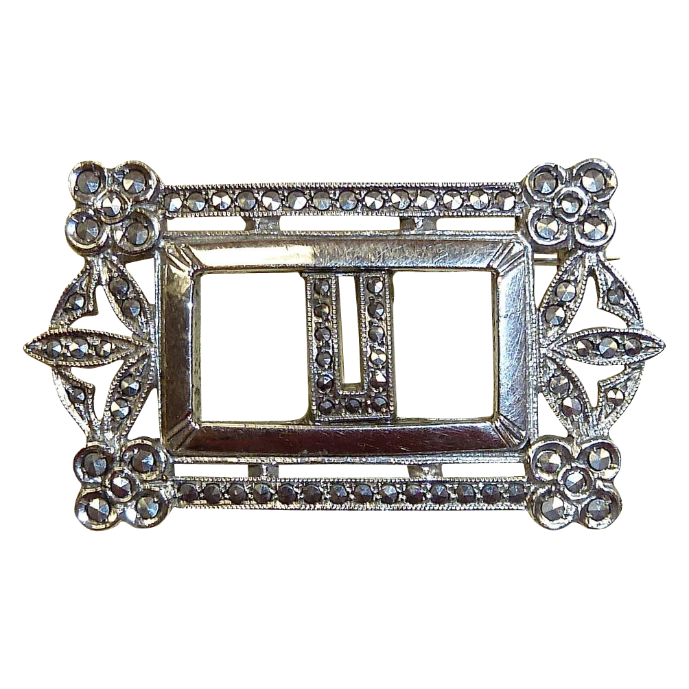Art Deco Sterling & Marcasite U Initial Pin