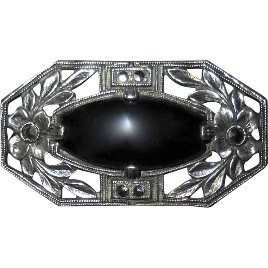 Art Deco Sterling Marcasite Onyx Pin