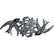 Sterling & Marcasite Birds & Flowers Pin