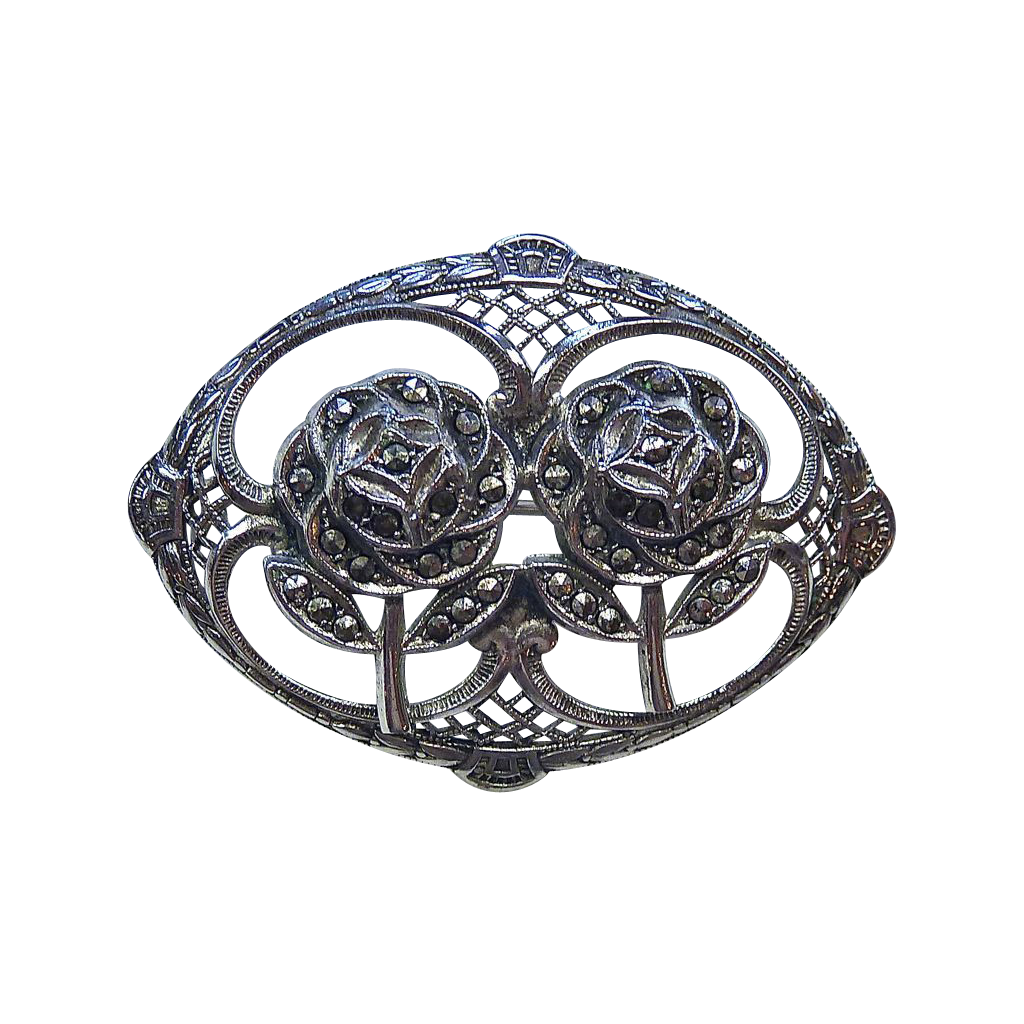 Sterling & Marcasite Framed Double Roses Pin c1940s