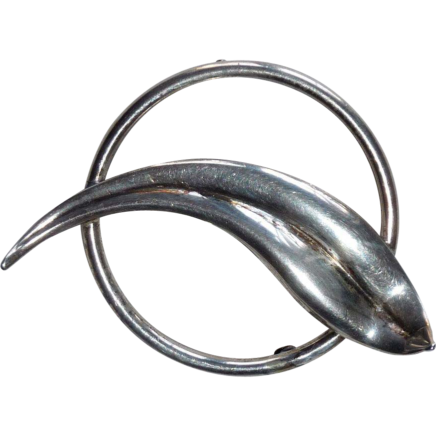Modernist Dissected Circle Signed Sterling Pin
