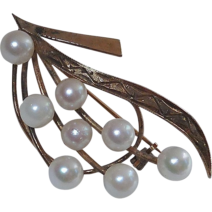 Engraved Gold Wash Sterling Pin w Cultured Pearls