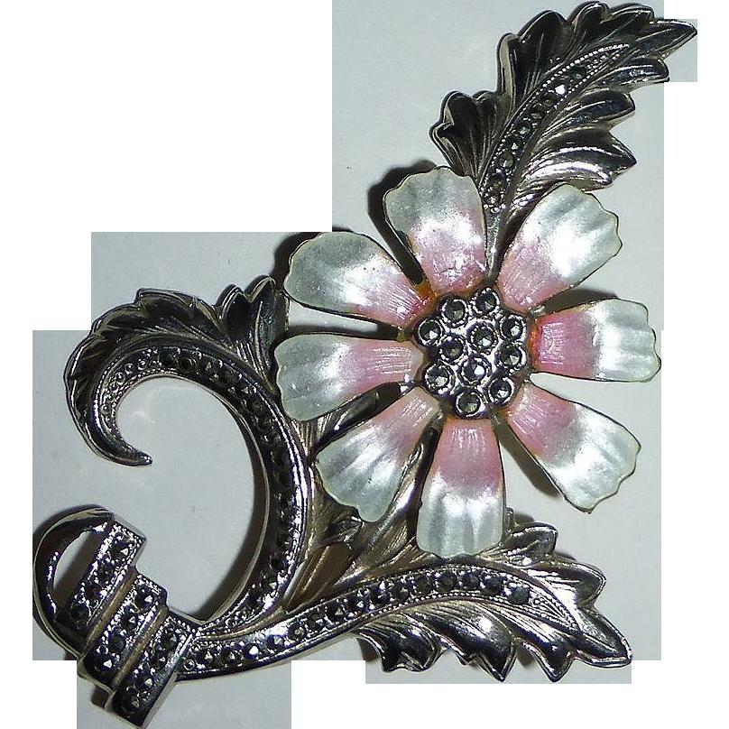 Sterling Marcasite Pink Enamel Flower Pin