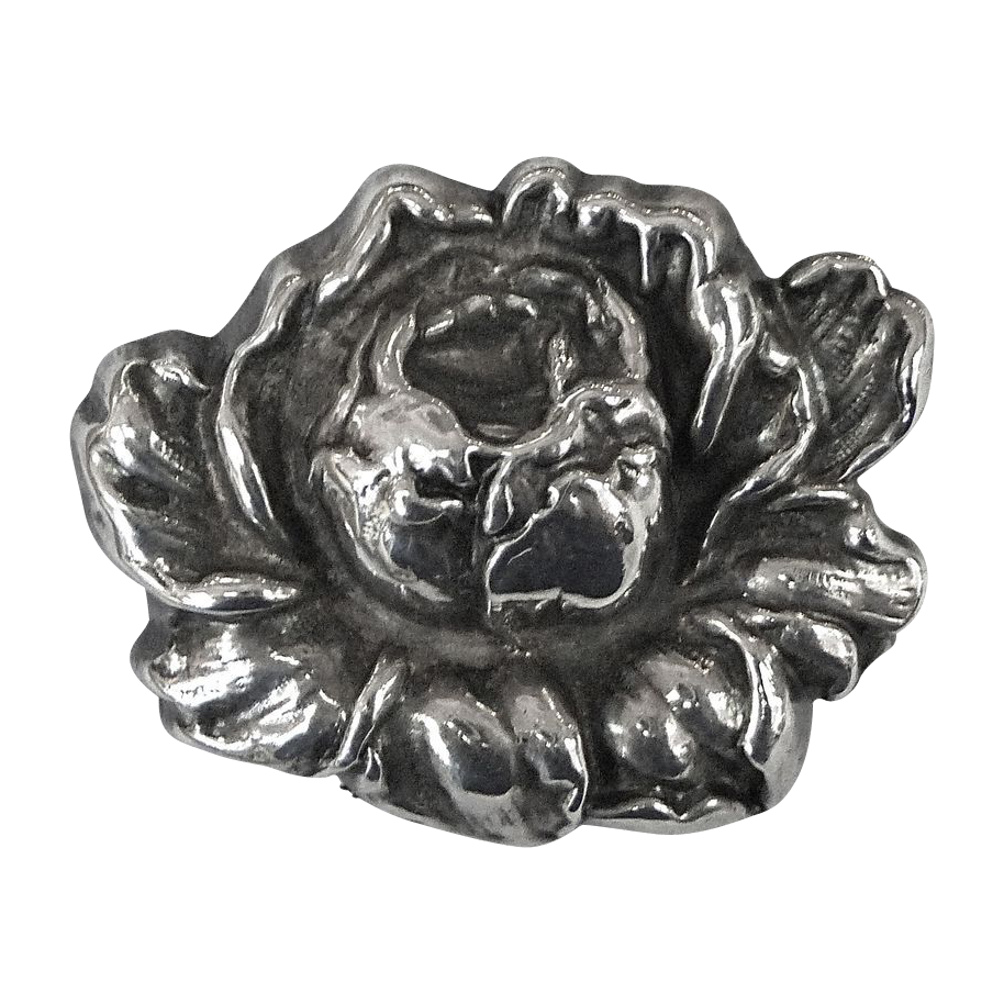 Antique Art Nouveau Sterling Top Sculptural Rose Pin