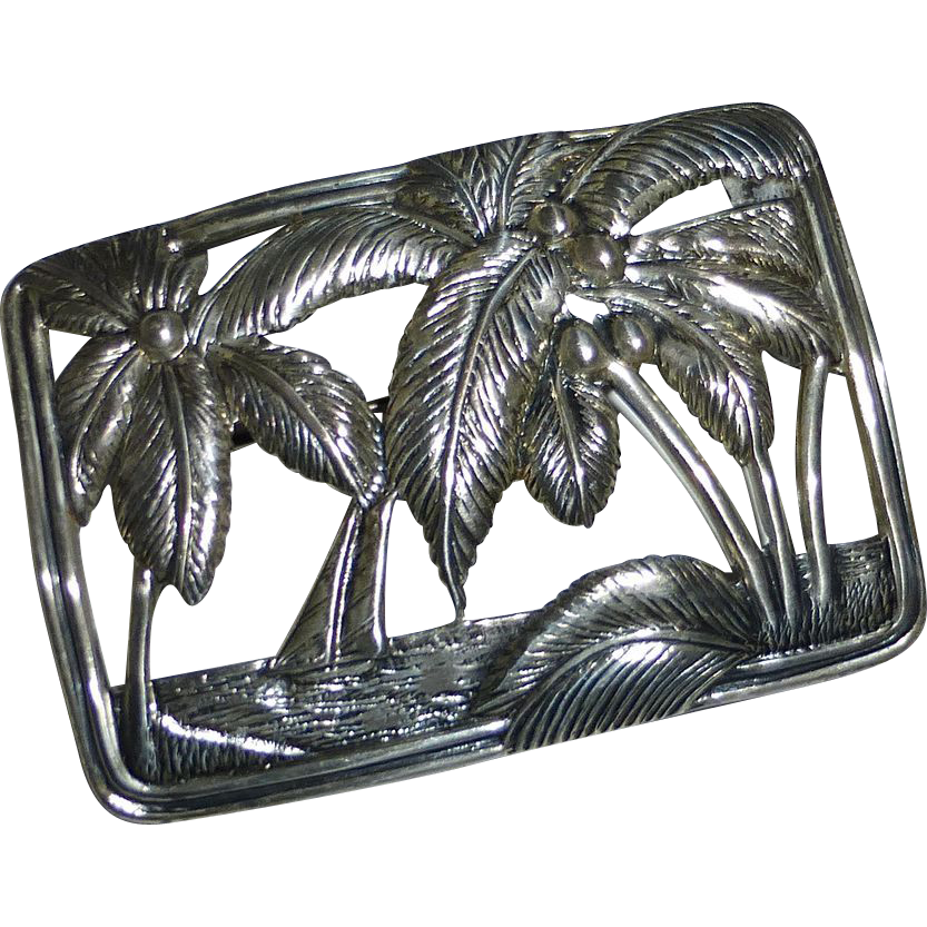 Sterling Silver Pin Tropical Scene Palms~Sea~Sailboat