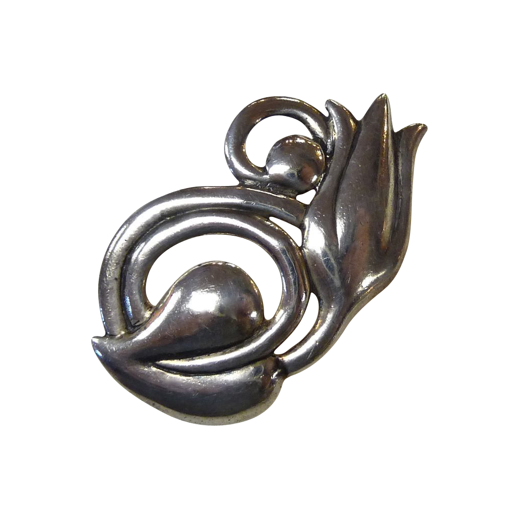 Stylized Sterling Signed Tulip Pin Wanacraft