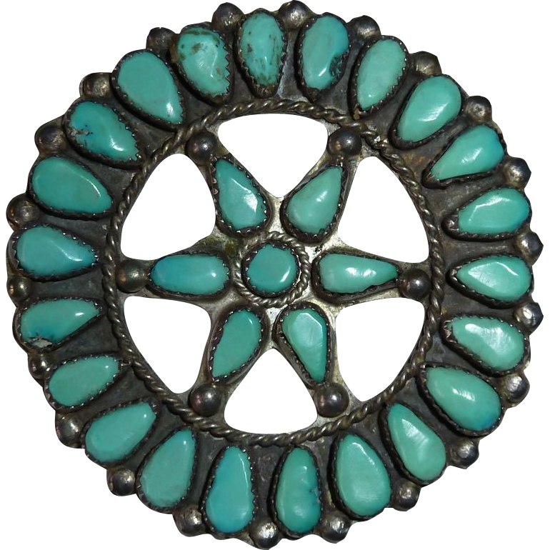 Bold Sterling Turquoise Encrusted Star Pin