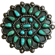 Native American Sterling Turquoise Petit Point Pin