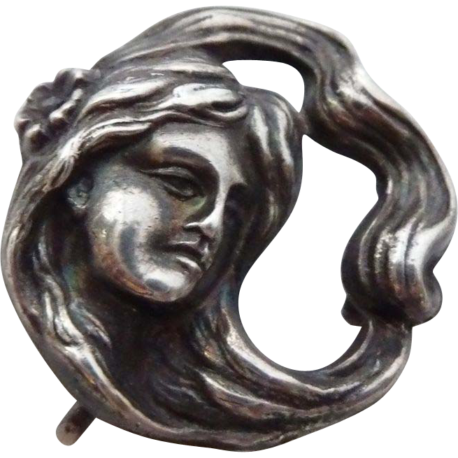 Antique Art Nouveau Sterling Woman Watch Pin