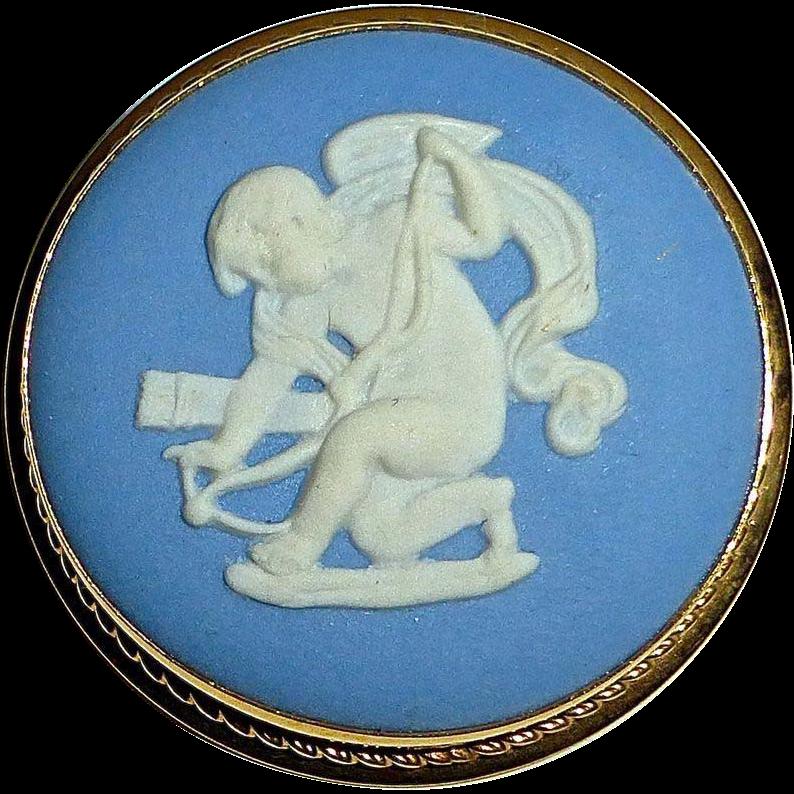Wedgwood Blue Jasperware Cameo Angel~Cupid~Eros Pin/Pendant