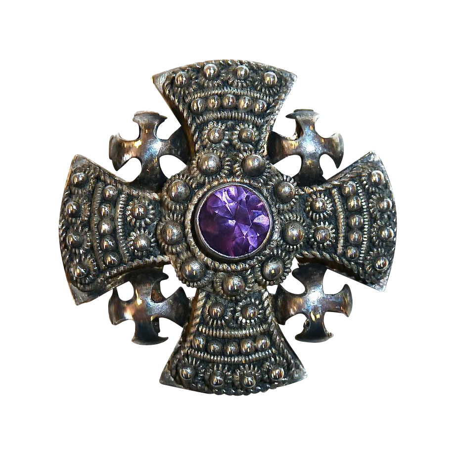 Ornate 900 Silver Jerusalem Cross w Amethyst Pin/Pendant