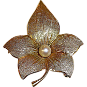 Rare Vintage Designer 14k Rose, Green & Yellow Gold Flower Pin w Cultured Pearl