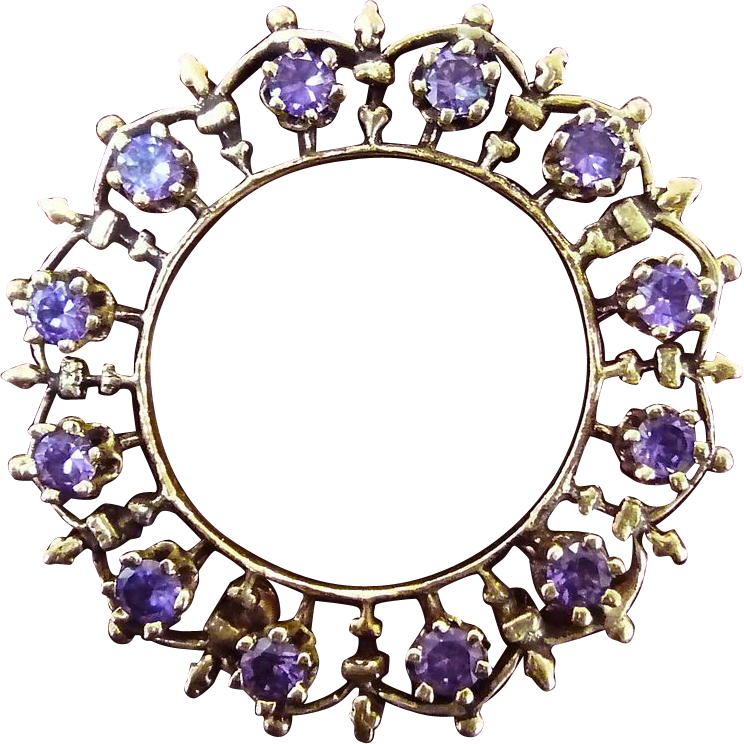 Vintage 14k Amethyst Scalloped Circle Pin/Pendant