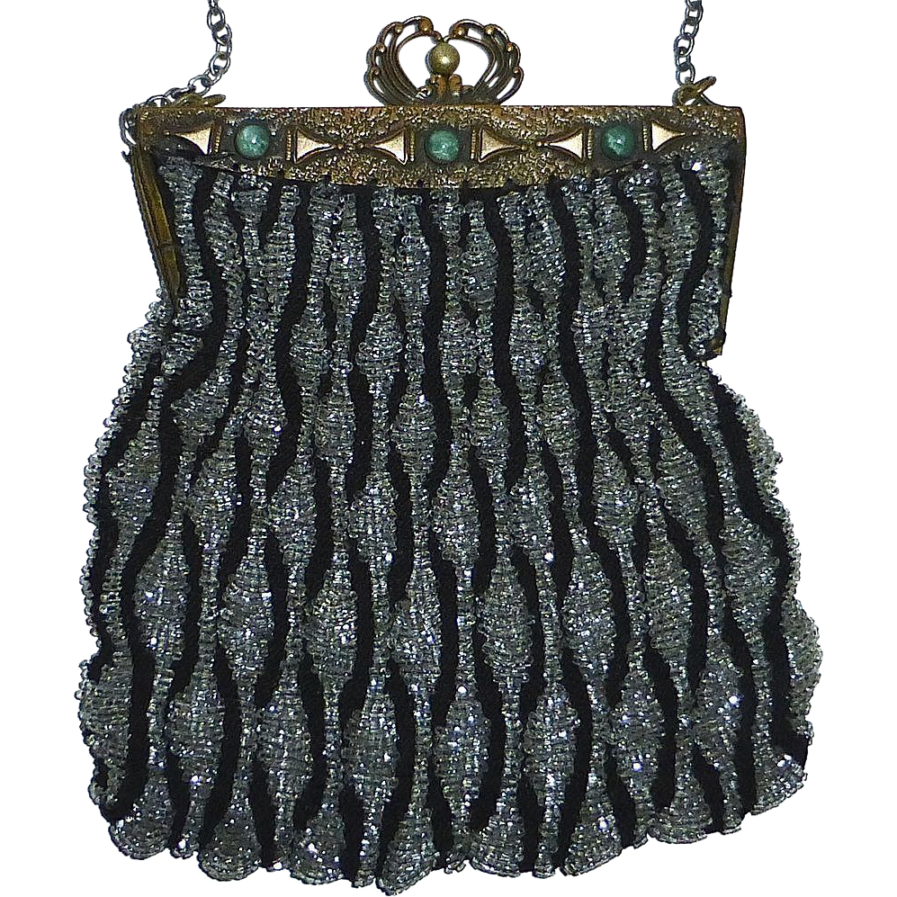 Art Deco Beaded Purse Embellished Bronze Frame