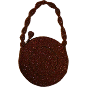 Art Deco Copper Flashed Glass Beaded Round Purse