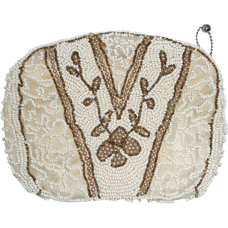Art Deco Vintage White Beaded Small Purse
