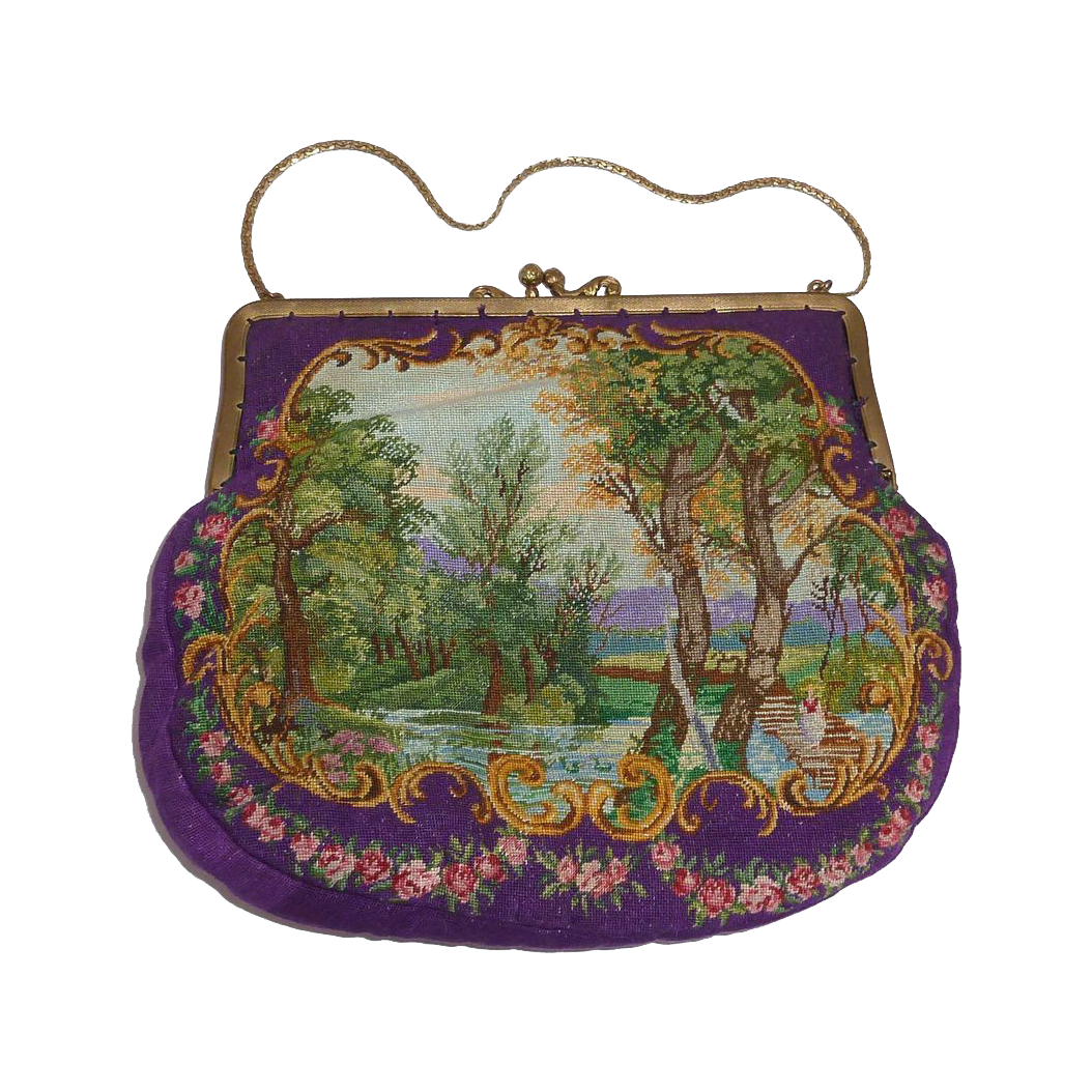 Exquisite Scenic Silk Pettipoint Purse Amazing Hand Needlework