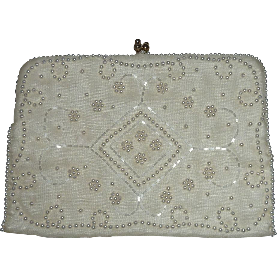 White Bridal Purse Bugle Beads & Faux Pearls Beading