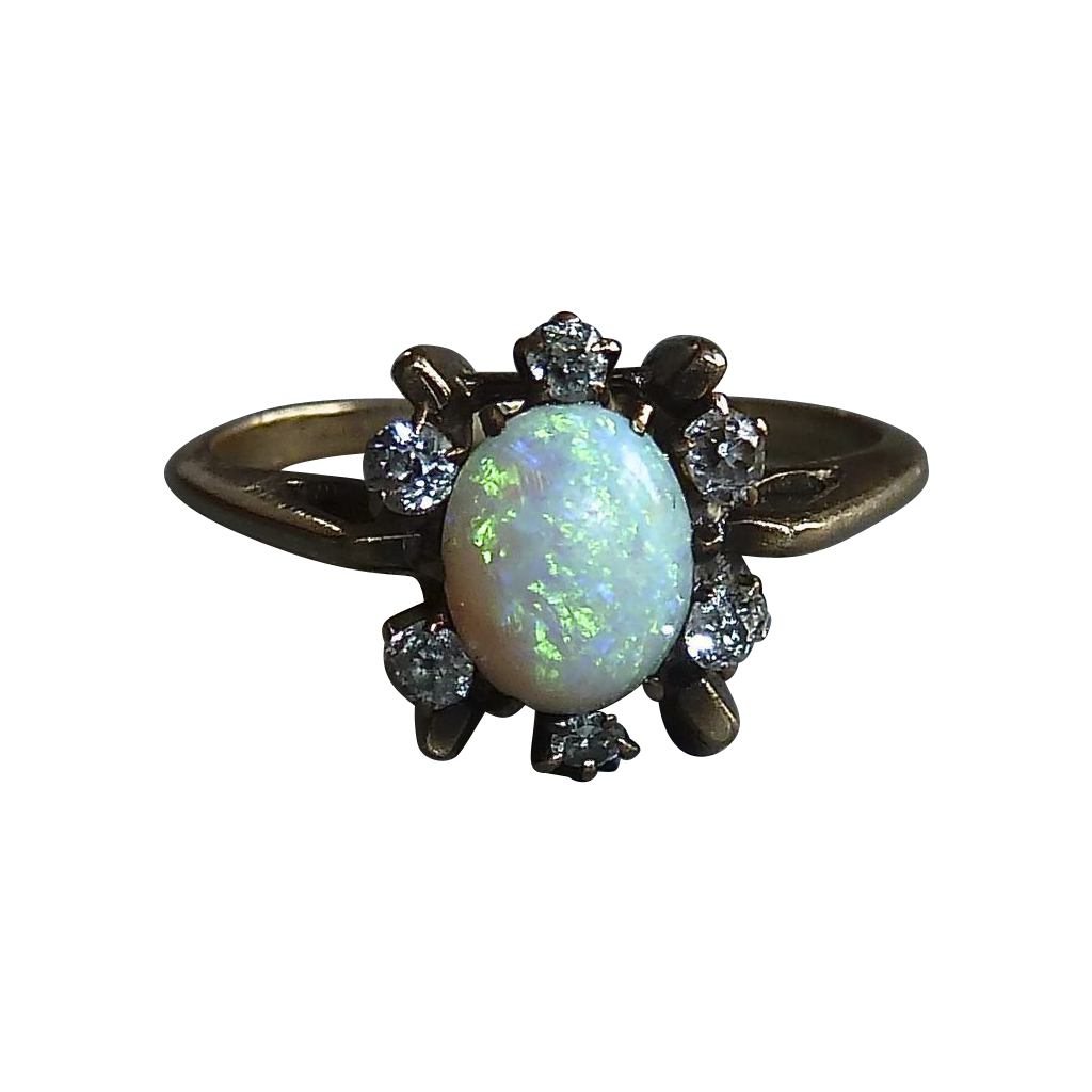 Antique Opal & Mine Cut Diamond 10k Ring