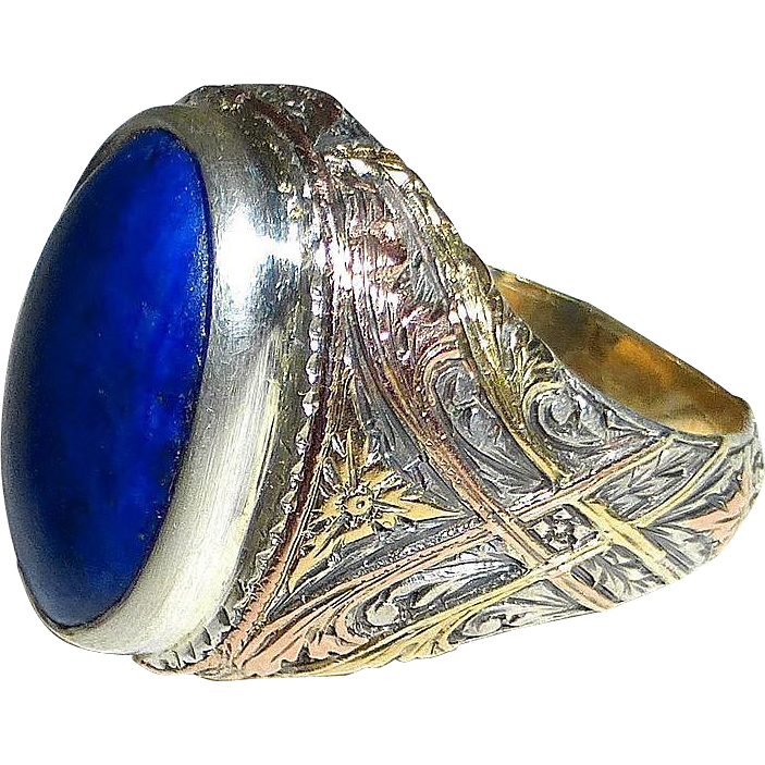 Amazing Detailed Art Nouveau 12k Lapis Ring