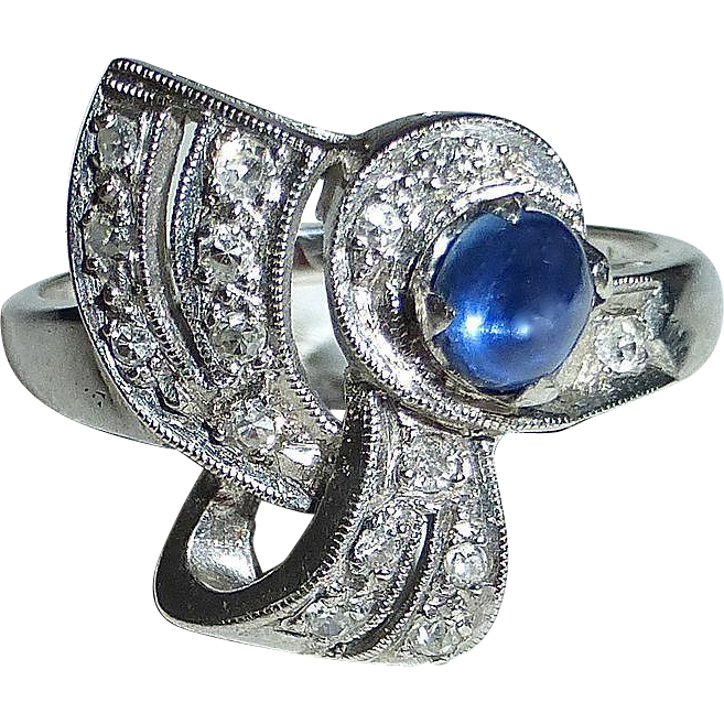 14k White Gold Retro Ring c1930-40s