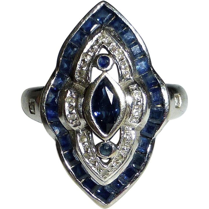 Art Deco 14k White Gold Dinner Ring Sapphire & Diamonds