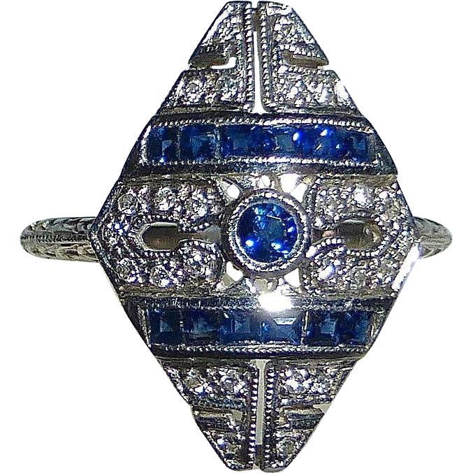 Art Deco 14k White Gold Diamond & Sapphire Ring