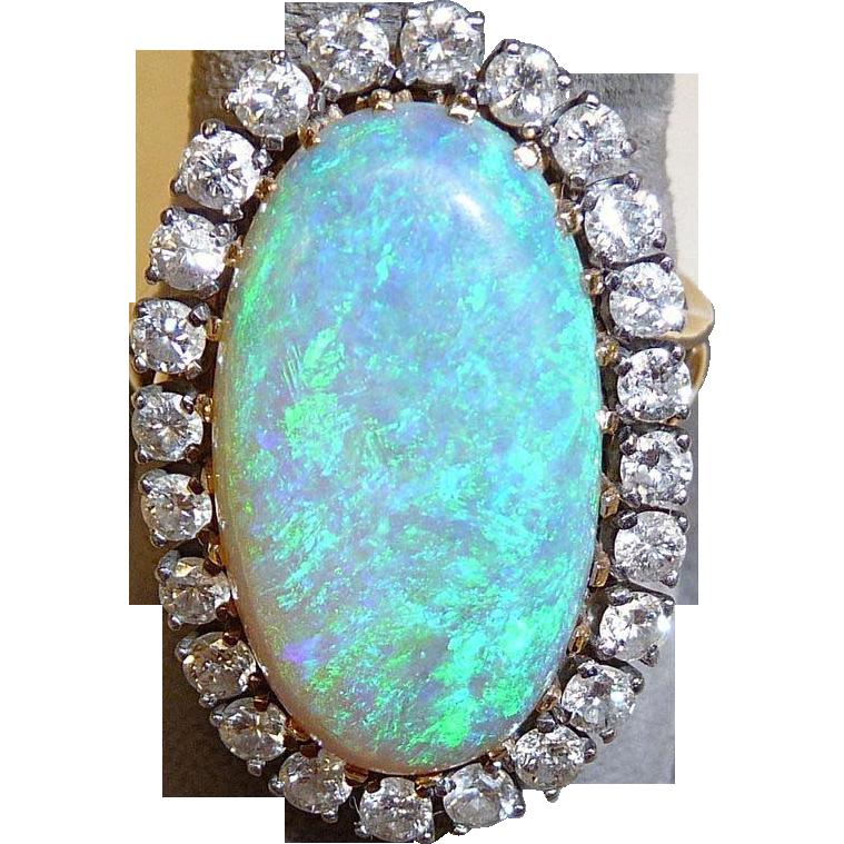 Superb 14k Large Black Opal & Diamond Ring