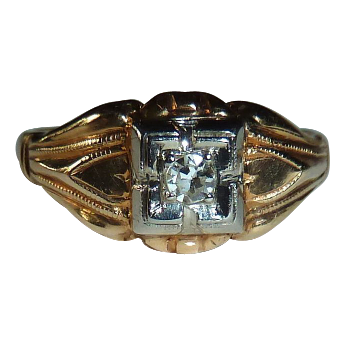 Art Deco 14k Yellow & White Gold Diamond Ring c1930s