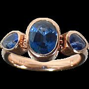 14k Rose Gold Triple Sapphire Ring