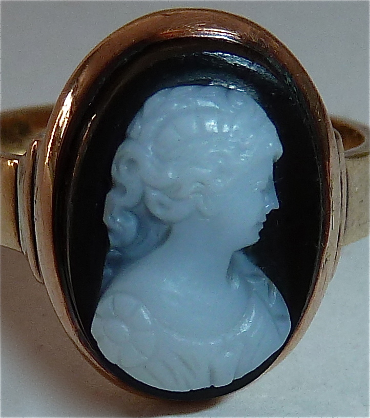 Antique 14k Rose Gold Black Amp White Hard Stone Cameo Ring