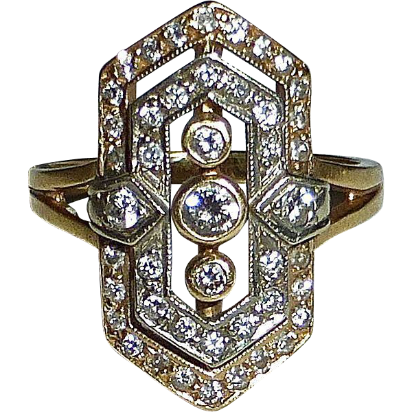 Art Deco 14k White & Yellow Gold Diamond Ring