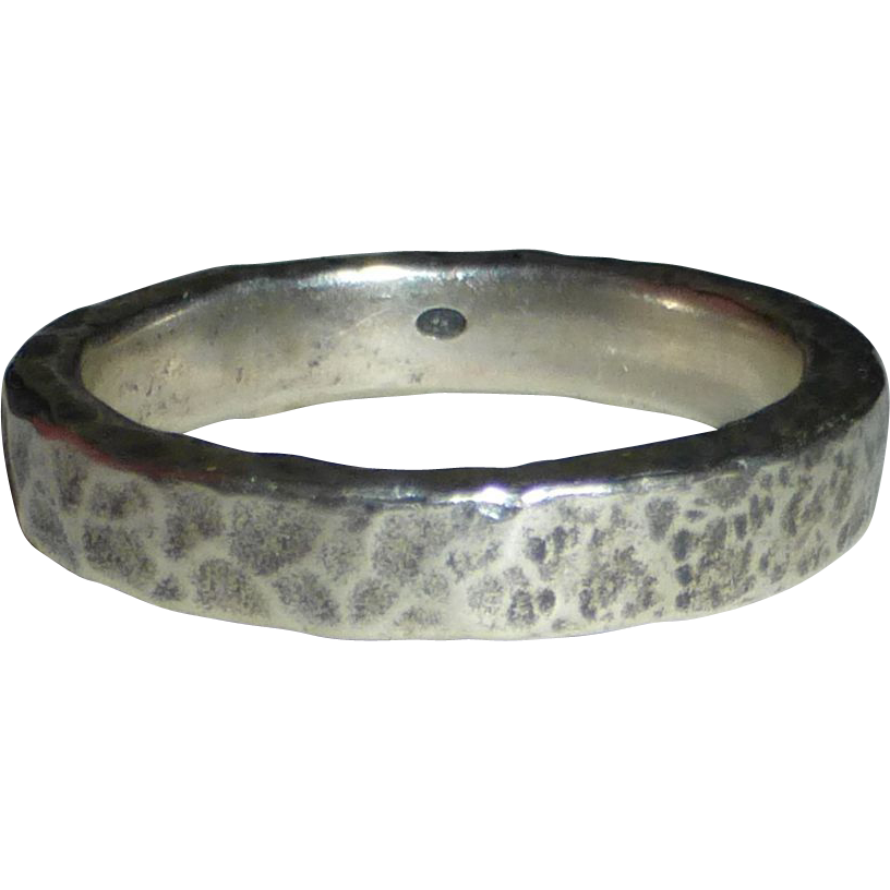 900 Silver DIESEL Heavy Hammered Band Ring