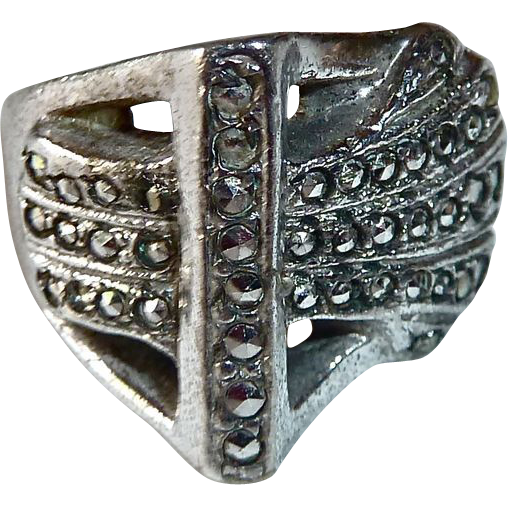 Art Deco Sterling & Marcasite Sculptural Ring