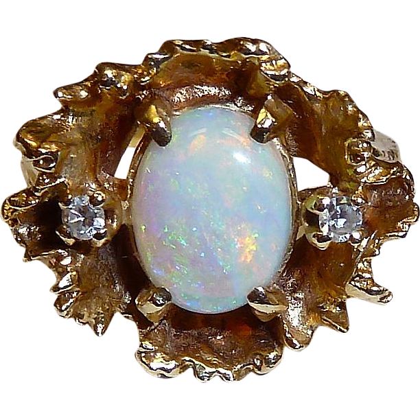 1950s Organic Modernist 14k Crystal Opal & Diamond Ring