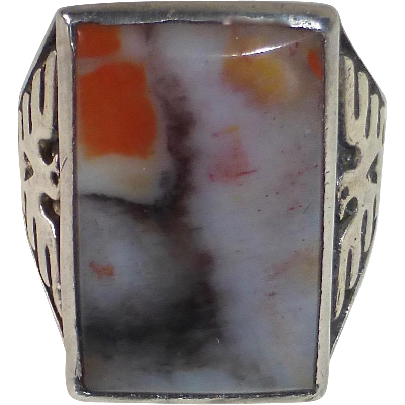 Native American Sterling Ring Petrified Wood Cab Bell Trading Co.