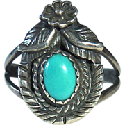 Native American Signed Sterling Turquoise Ring