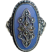 Art Deco Sterling Chalcedony Ring
