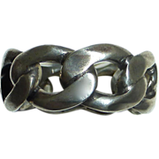 Italian Heavy Sterling Flat Curb Chain Ring