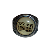 Winky + Dutch Silver Plated Ring~Gamblers Dice