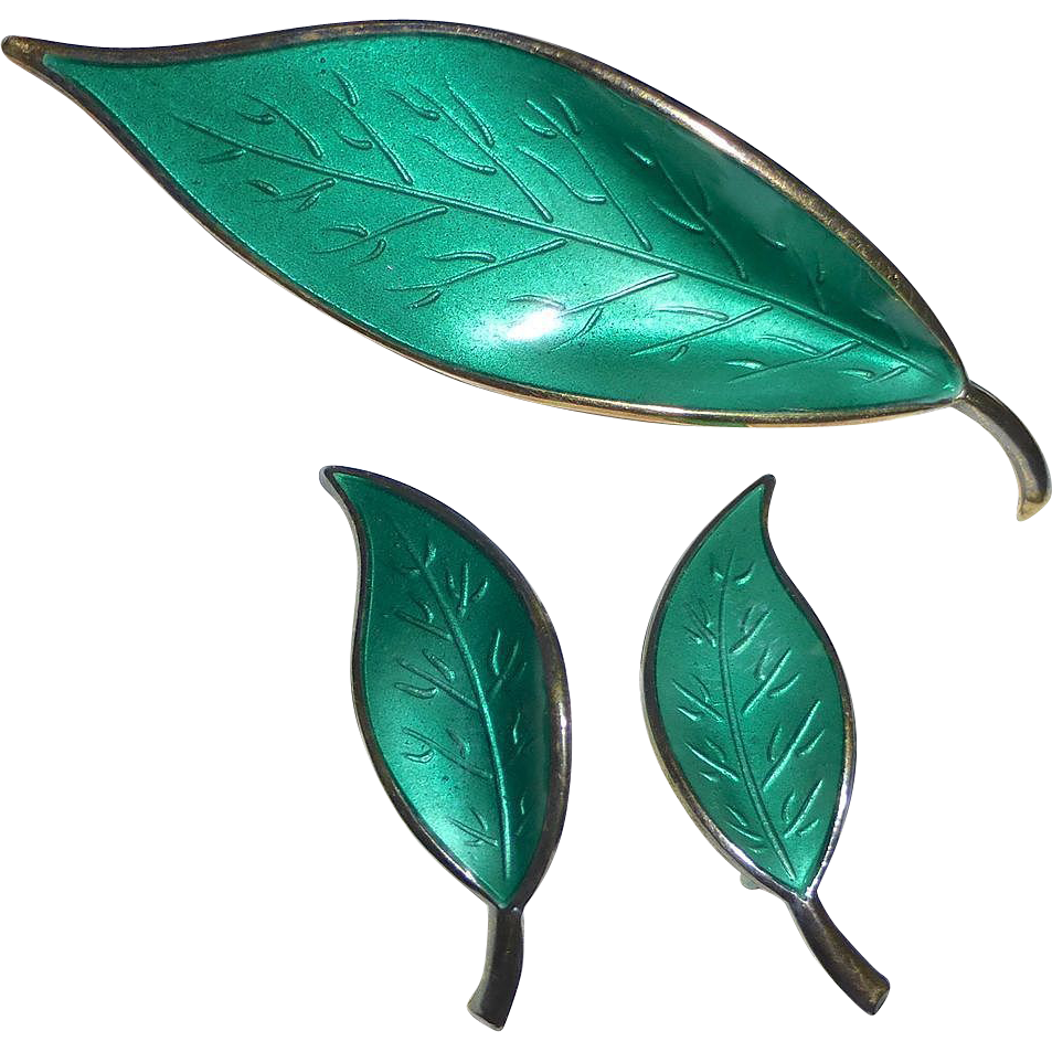 David Andersen Norway Sterling & Enamel Sea Green Leaf Pin & Earrings Set