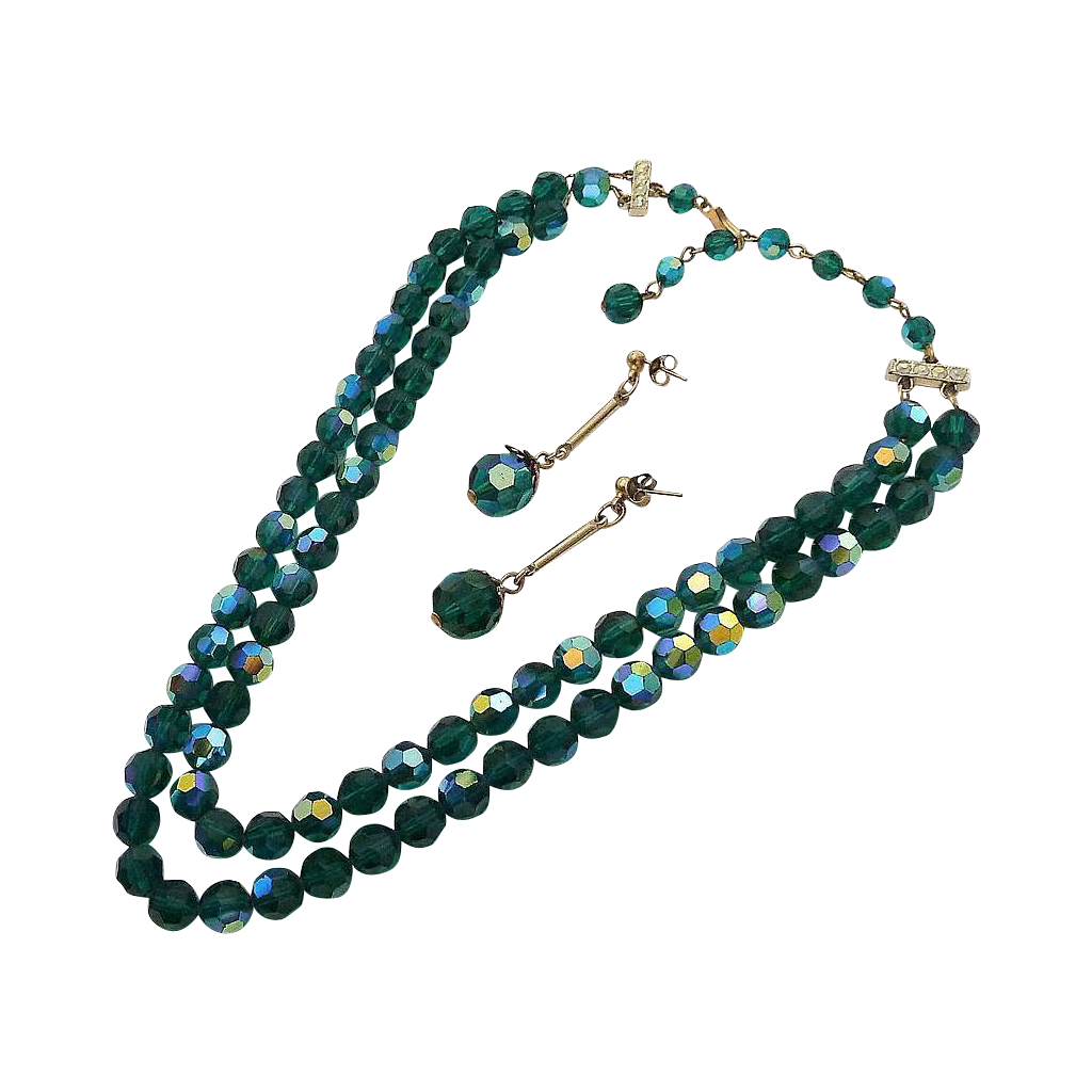Dark Green AB Bead Necklace & Earring Set