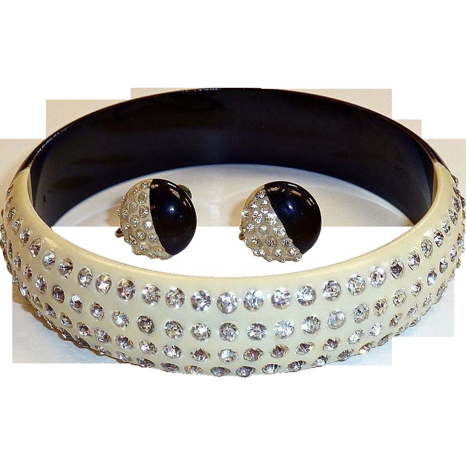 Art Deco Celluloid & Rhinestone Bracelet Earrings Set