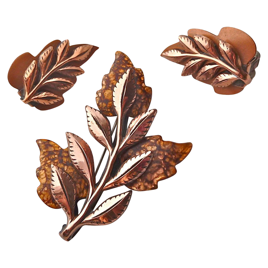 Renoir Matisse Enamel Copper Leaf Pin & Earrings Set