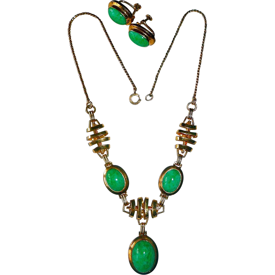 Art Deco Gold Filled Drop Necklace & Earring Set w Green Pearl Glass