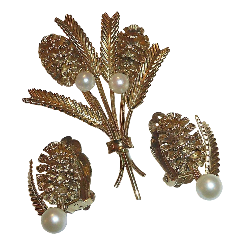 Gold Filled Pine Cone Sprig Designer Pin & Earrings Set c1950s